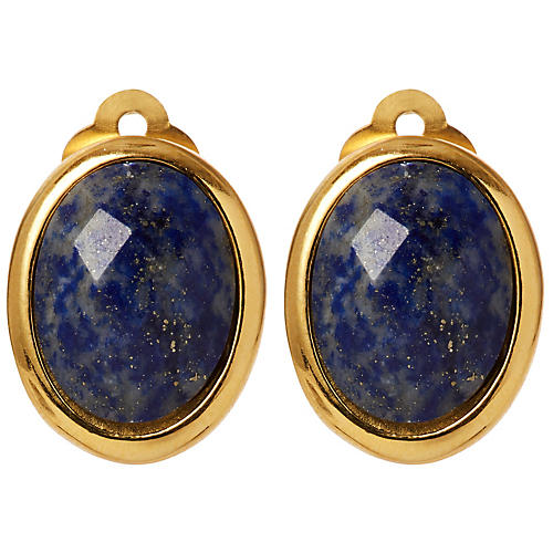 Lapis Clip-On Cabochon Earrings