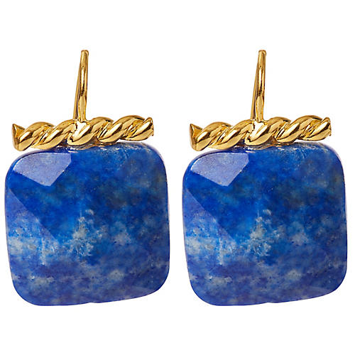 Lapis Twisted Drop Earrings, Brass