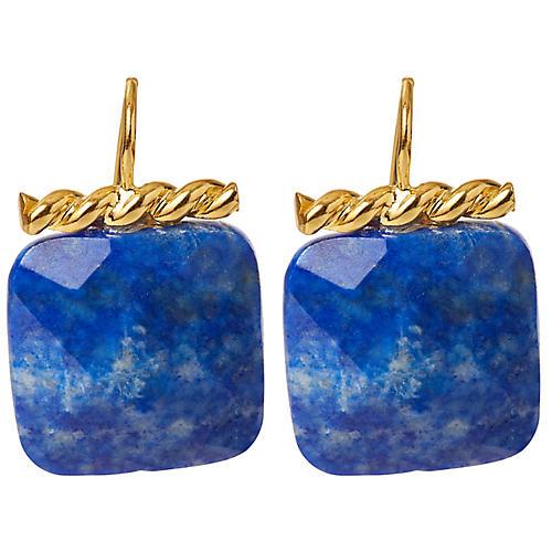 Lapis Twisted Drop Earrings, Brass