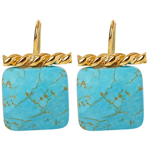 Turquoise Twisted Drop Earrings, Brass