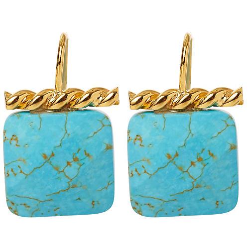 Turquoise Twisted Drop Earrings, Brass