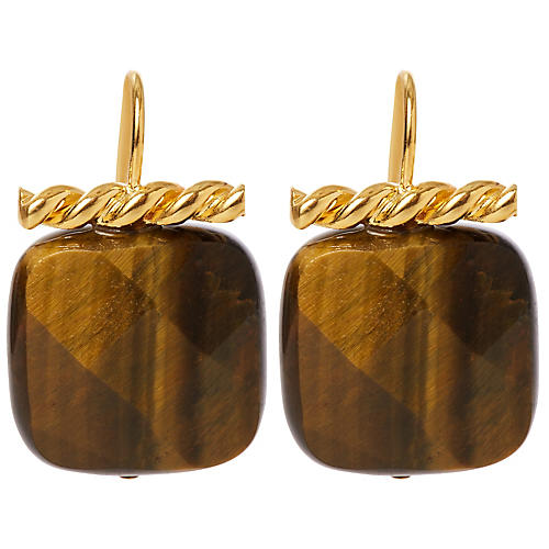 Tiger's Eye Twisted Drop Earrings