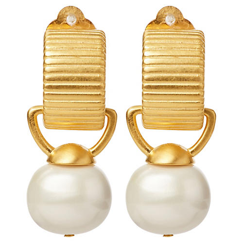 Pebble Pearl Clip-On Drop Earrings