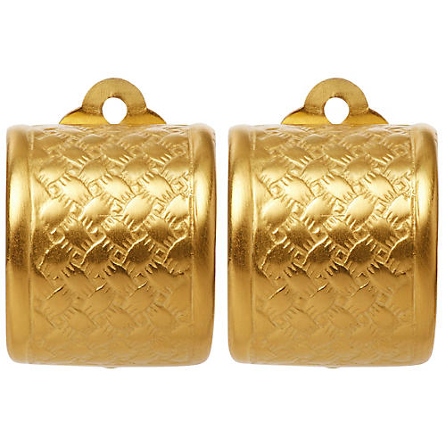 Basket Weave Clip-On Earrings, Brass