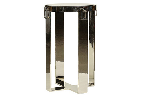 Victoria Marble Side Table, Silver