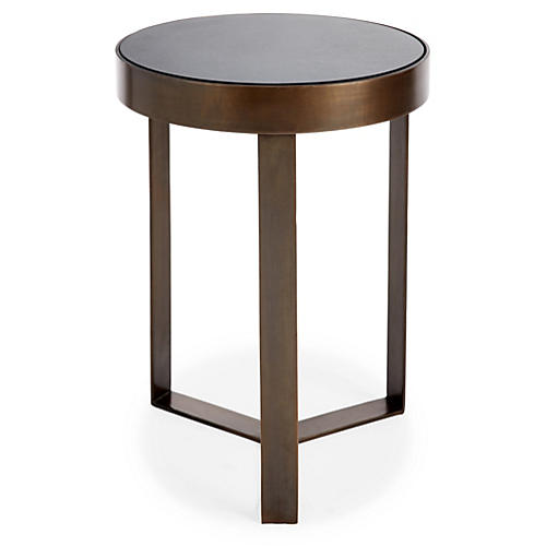 Sabine Side Table, Granite/Brass