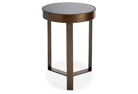 Sabine Side Table, Granite/Brass