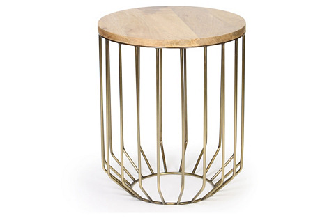 Ashley Side Table, Wood/Brass