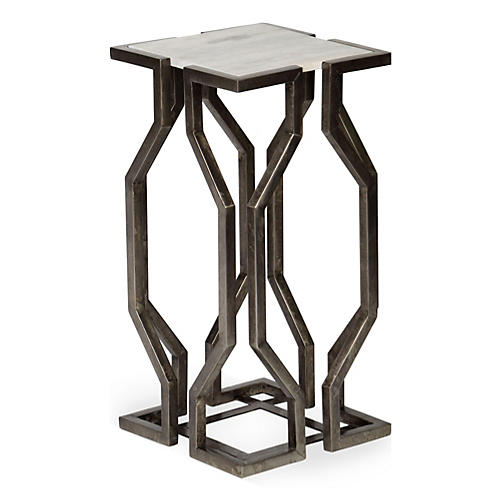 Cora Side Table, Antiqued Pewter
