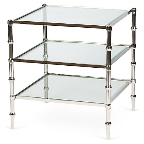 Kayley 3-Shelf Side Table, Nickel