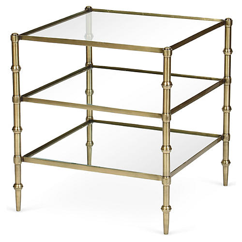 Kayley 3-Shelf Side Table, Brass