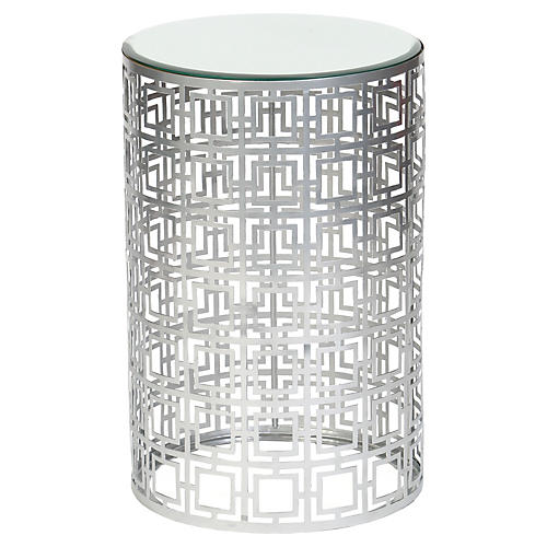 Leah Glass Side Table, Silver