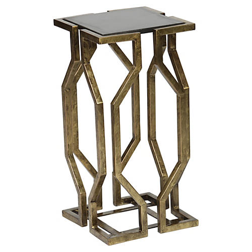 Cora Side Table, Antiqued Brass
