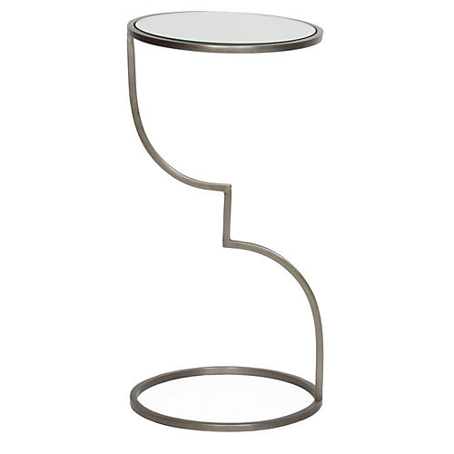 Winnie Side Table, Glass/Pewter