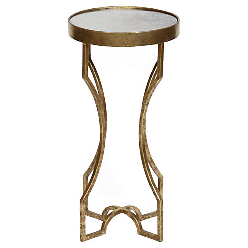 Ella Side Table, Glass/Gold