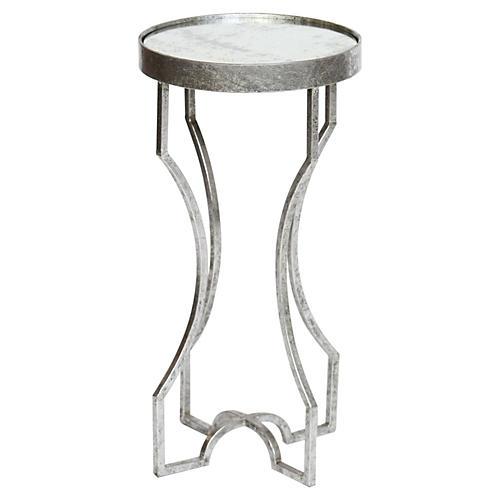 Ella Side Table, Glass/Silver