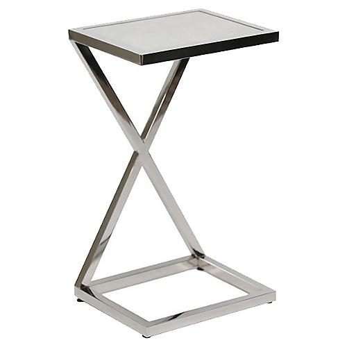 Carianne Side Table, Marble/Silver