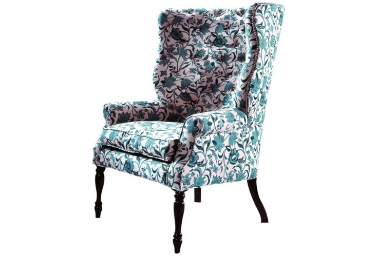 Davis Tufted Linen Wing Chair, Teal