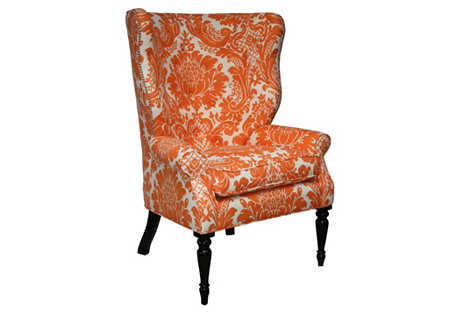 Davis Wingback Chair, Tangerine