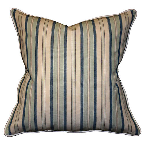 Dover Striped 22x22 Cotton Pillow, Navy