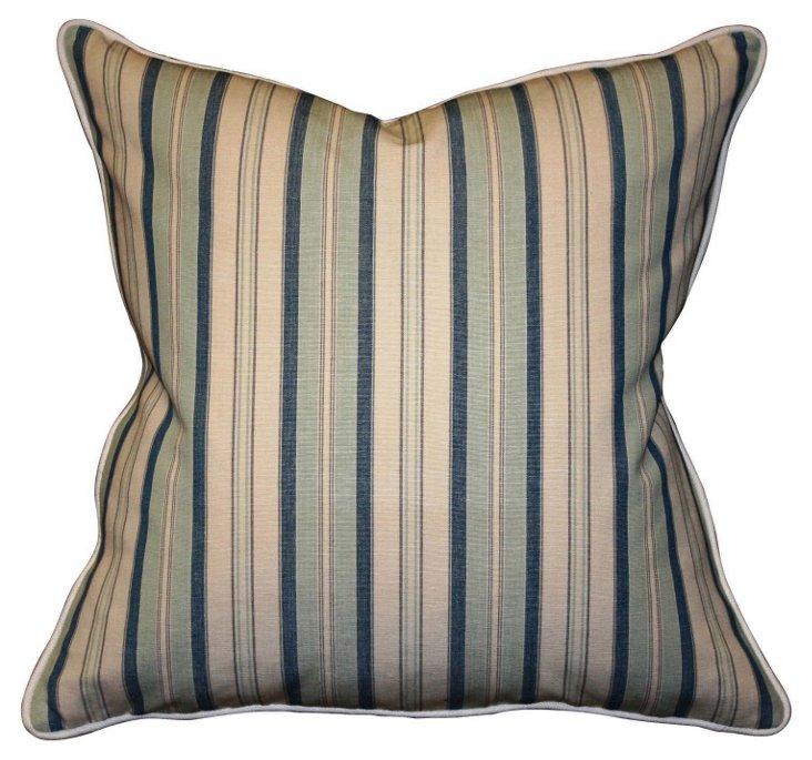 Dover Stripe 22x22 Cotton  Pillow, Navy