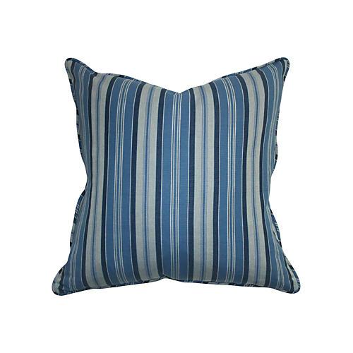 Striped 22x22 Chambray Pillow, Blue