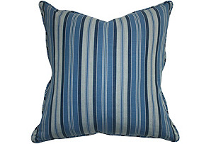 Striped 22x22 Chambray Pillow, Blue