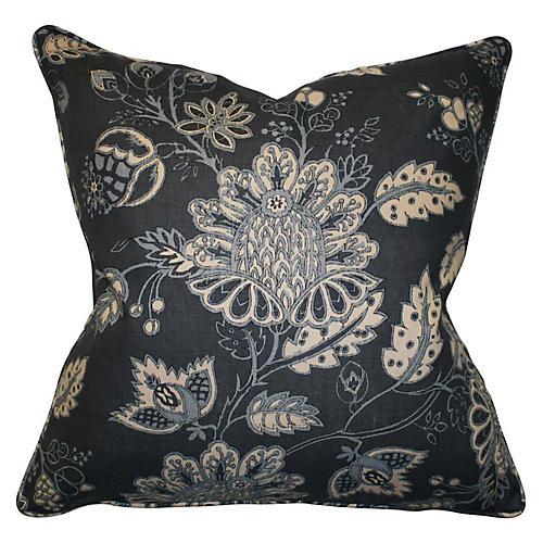 Avalon 22x22 Linen Pillow, Navy