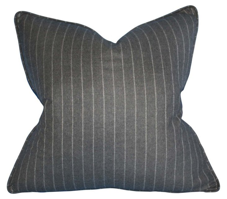 Stripe 22x22 Wool Pillow, Charcoal
