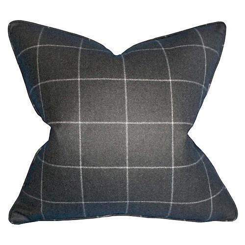 Windowpane 22x22 Wool Pillow, Charcoal