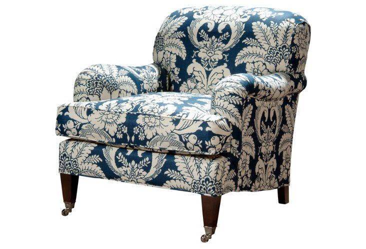 Somerset Linen Club Chair, Navy/White
