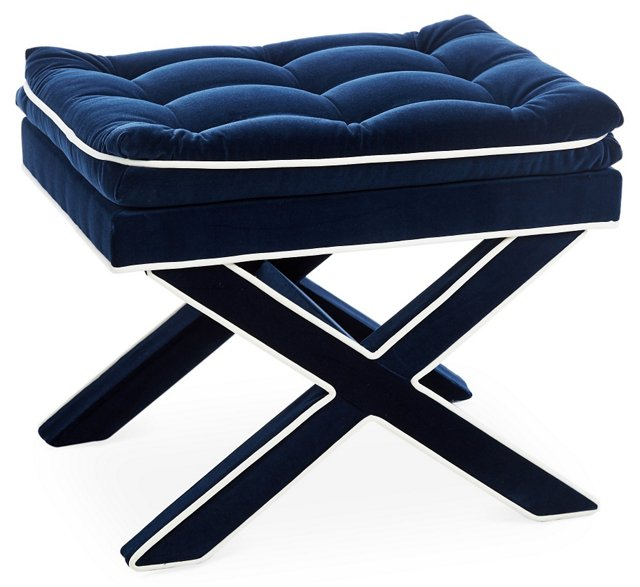 Essex Tufted Ottoman, Navy Velvet