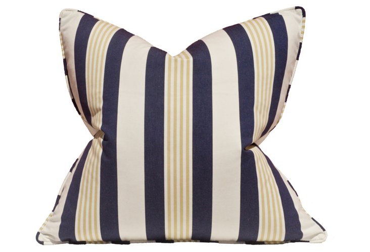 Mazarin Nautica 22x22 Pillow, Navy Stripe
