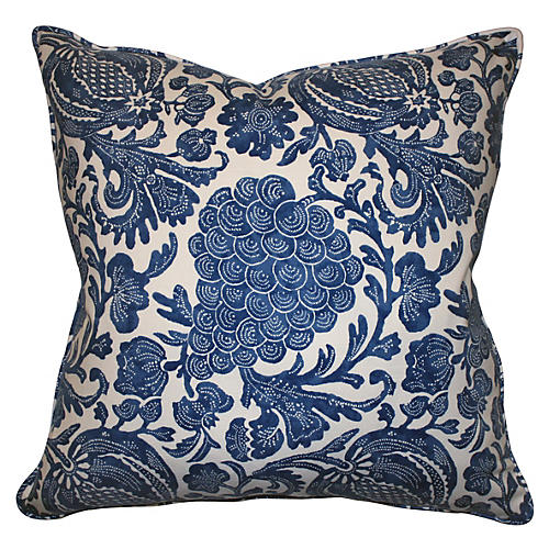 Batik 22x22 Cotton Pillow, Blue