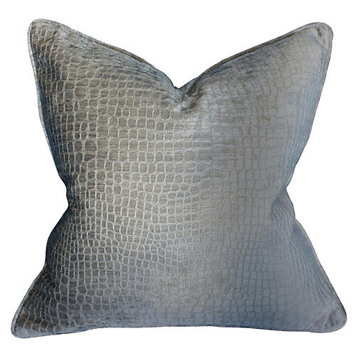 Steel Croc 22x22 Pillow, Silver