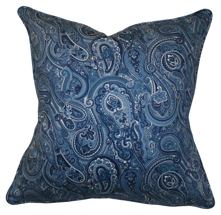 Fairfax 22x22 Cotton Pillow, Blue