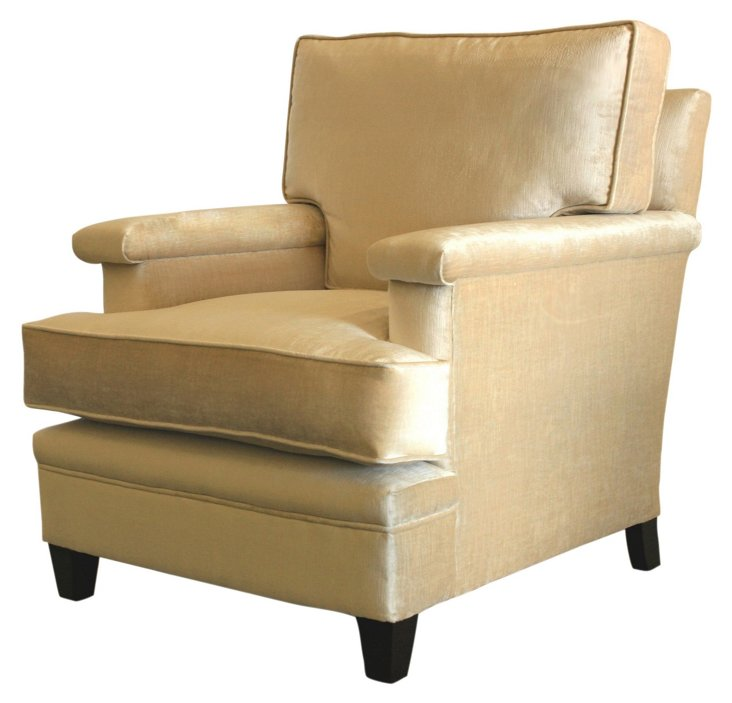 Del Mar Velvet Club Chair, Cream