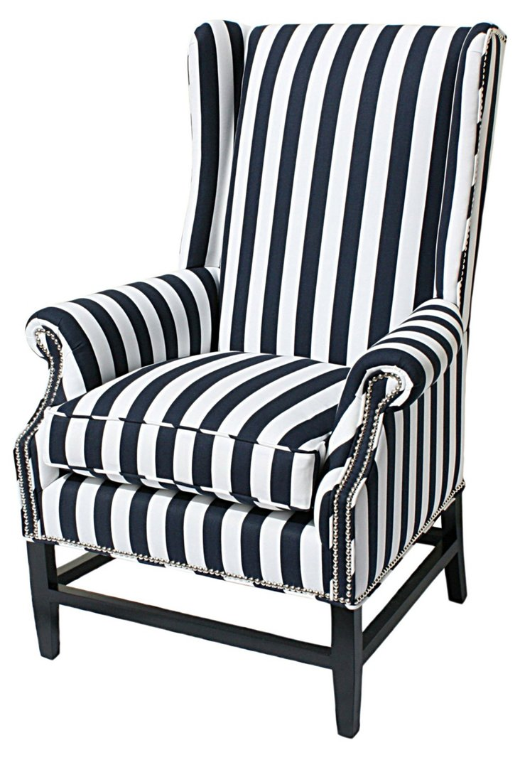 Grant Wingback Chair, Navy/White