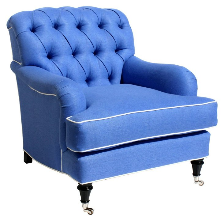 Somerset Linen Tufted Club Chair, Blue