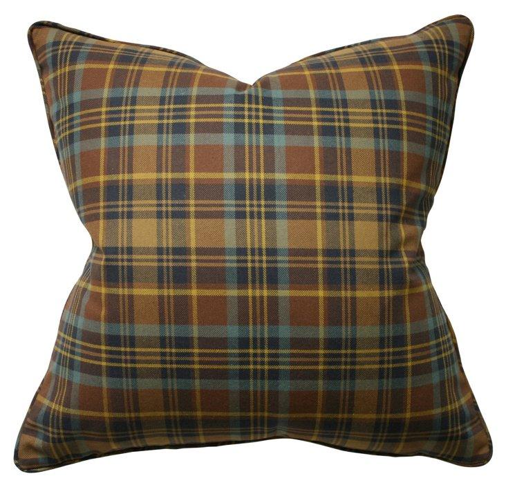 Tartan 22x22 Cotton Pillow, Gold