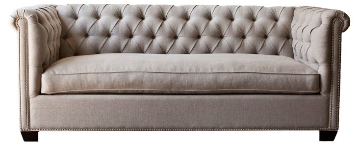 "Esquire 90"" Linen Chesterfield, Oatmeal"
