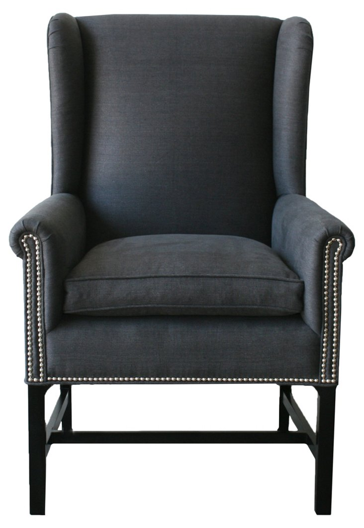 Kingston Linen Wingback Chair, Charcoal
