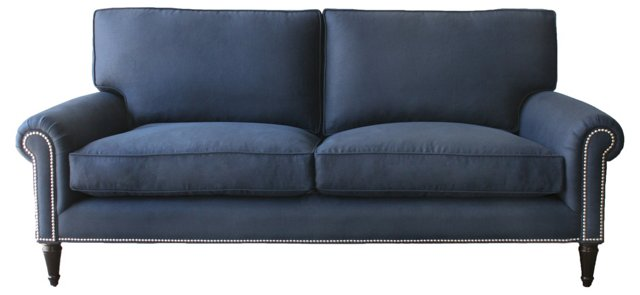 """Sussex 84"""" Linen Sofa, Navy"""