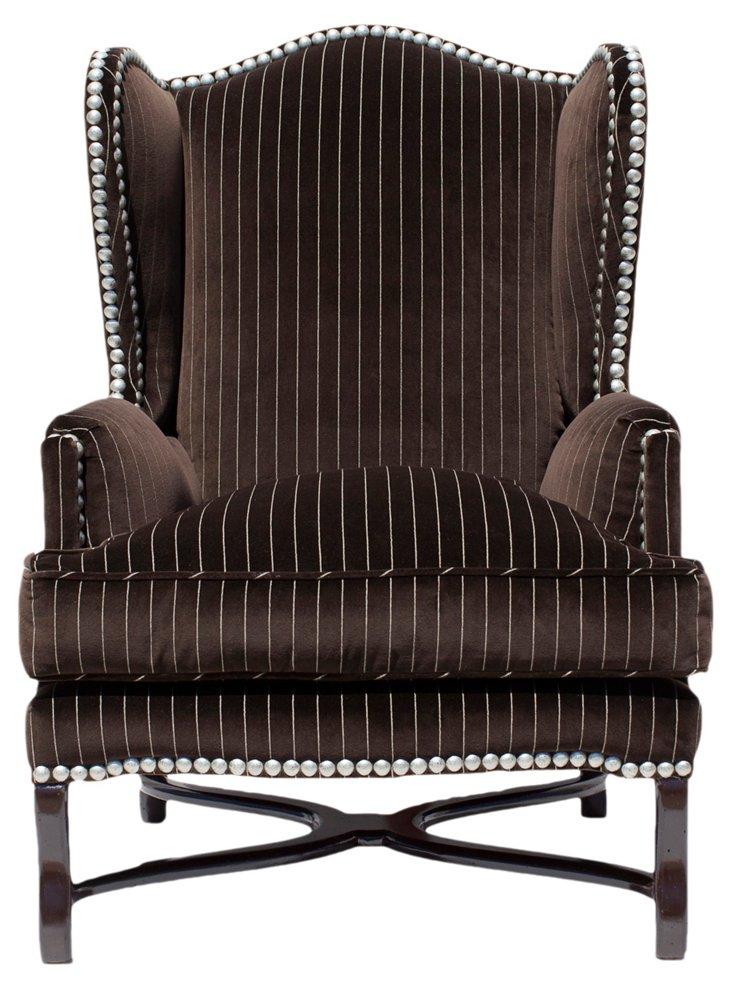 Wyland Wingback Chair, Chocolate