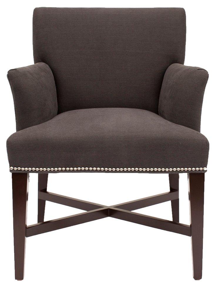Avenue Linen Accent Chair, Charcoal