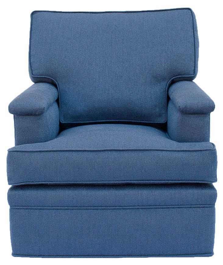Del Mar Swivel Chair, Cornflower Blue