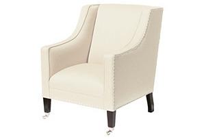 St. Tropez Linen Chair, Oyster
