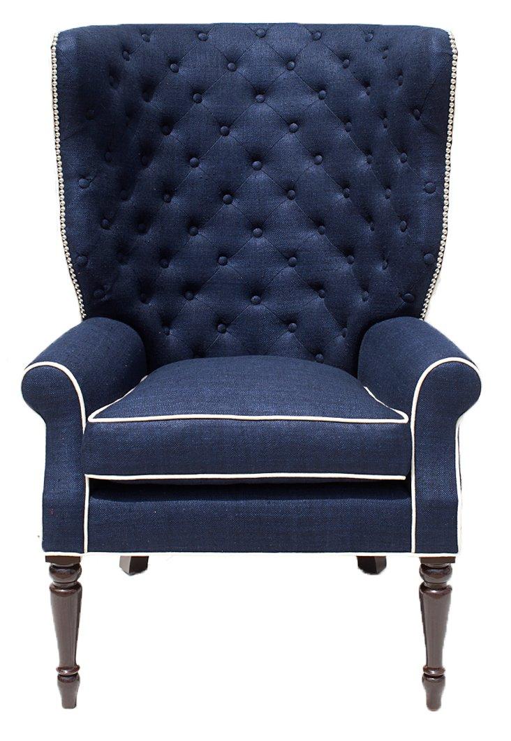 Davis Linen Chair, Navy
