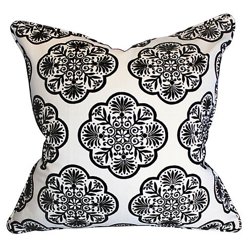 Destiny 22x22 Cotton-Blend Pillow, Black