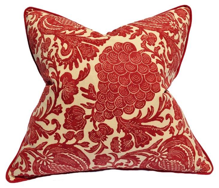 Batik 22x22 Cotton Pillow, Red